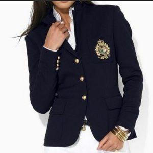 Ralph Lauren Navy Crested Wool Blazer Jacket Sz 4p